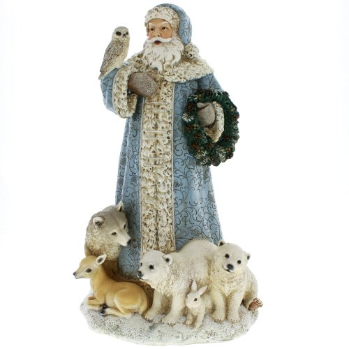- Powder Blue Santa Claus 16 inch Resin Stone Christmas Statue Figurine Decoration