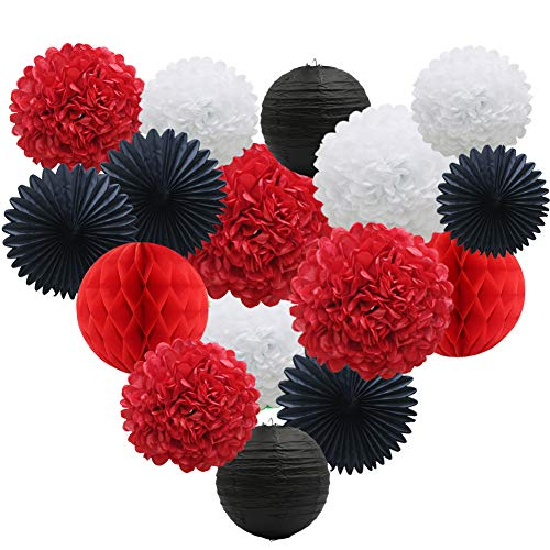 Ladybug Baby Shower Theme (Red White Black Party Decorations 16pcs Paper Pom Poms Honeycomb Balls Lanterns Tissue Fans for Mickey Mouse Theme Birthday Ladybugs Baby Shower)