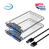#6: ELUTENG 2 Pack Clear Hard Drive Enclosure only for 2.5 Inch External HDD Enclosure 5Gbps USB3 Portable Hard drive Caddy for 7MM 9.5MM SSD SATA Adapter
