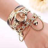 Woman Girl Leather Rhinestone Rivet Chain Watch Ninasill Quartz Bracelet Wristwatch Watch