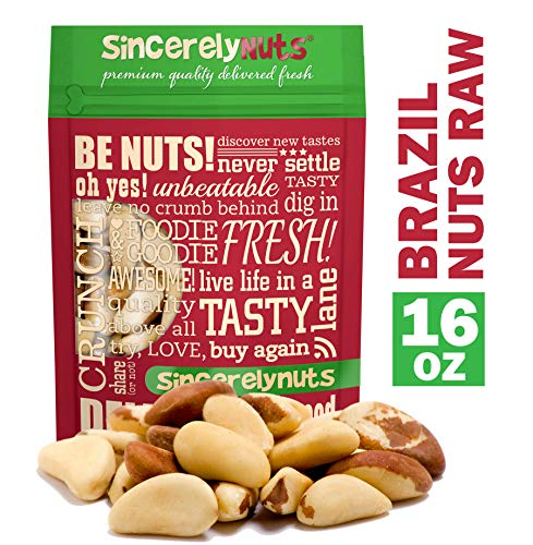 Sincerely Nuts Raw Brazil Nuts No Shell (1Lb Bag) | Premium Healthy Snack Food | Whole, Kosher, Vegan, Gluten Free | Keto & Paleo Diety Friendly | Gourmet Snack | Source of Vitamins & Minerals