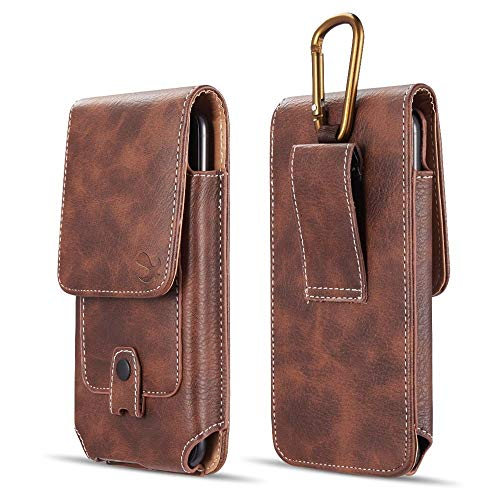 (Luxmo Vertical Series Phone Holder Compatible with Samsung Galaxy J3 J337 (J3 V 3rd Gen, Star, Orbit, Achieve) - PU Leather Belt Holster Pouch Case with Inner Card Slots and Atom Cloth - Brown)