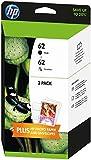 HP 62 Pack de 2 Cartouches d'Encre Noire et Trois Couleurs (Cyan, Magenta, Jaune) Authentiques
