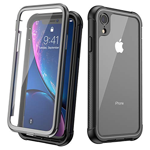 - KUMEDA Clear Designed Case for iPhone Xr Case, Full-Body Rugged Clear Case Cover with Built-in Screen Protector Case for iPhone XR 6.1 inch 2018 (Black+Clear)