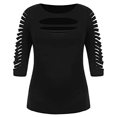 b52f17380 BeautyGal Women's Plus Size Tee Ladder Ripped Cut Front Three Quarter  Sleeve T-Shirt at Amazon Women's Clothing store: