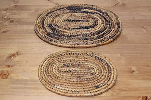 Set of 2 African Trivet (Oval, 1 medium: 12''x9.5'' + 1 small: 8''x6'') - Banana Stalks & Leaf Fibers - Africa Gift - Handmade in Rwanda - Natural, - One Trivet