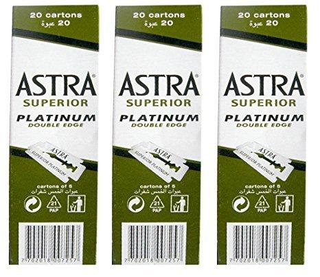 100 Astra Superior Premium Platinum Double Edge Safety Razor Blades 3-Count Pack (Edge Razor Premium)