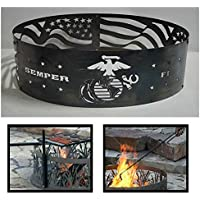 PD Metals Steel Campfire Fire Ring Marine Design - Unpainted - with Fire Poker and Cooking Grill - Small 30 d x 10 h Plus Free eGuide