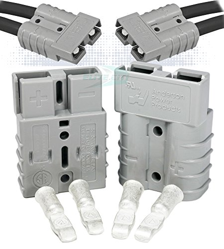 Anderson Power Products SB50 Connector Kit, 50 Amps, 36V Gray Housing, w/ 6 AWG, 6319 ( Pair) ()