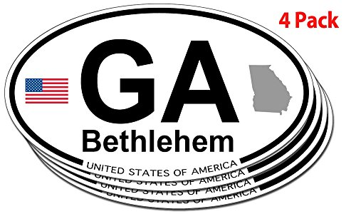 Bethlehem, Georgia Oval Sticker - 4 pack -