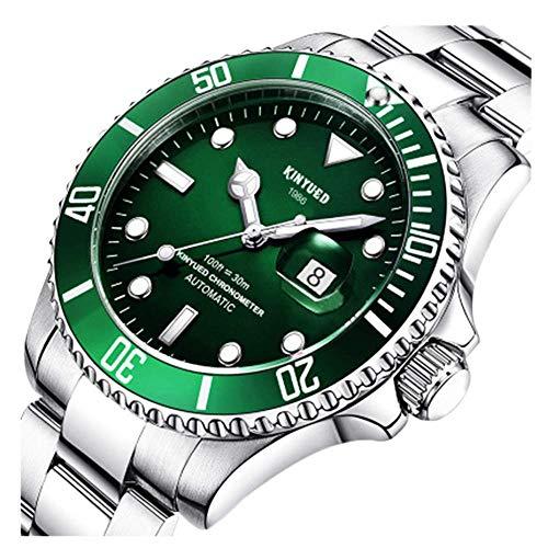 New KINYUED Water Ghost Series Classic Luxury Men's Automatic Watch Stainless Steel Waterproof Mechanical Watch (Silver Green) Automatic Series Classics Watch