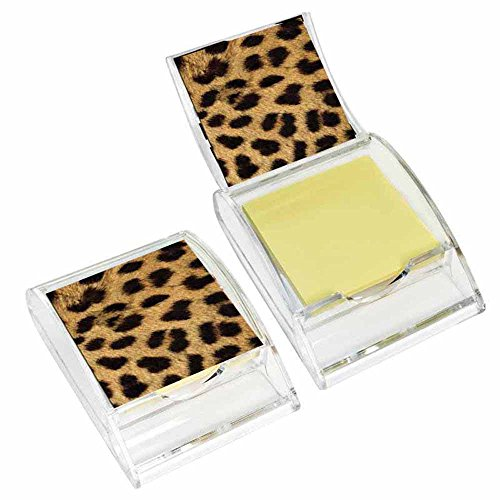 (Cheetah Print Sticky Note Holder - Wildlife Animal Theme Design - Stationery Gift - Office Business School Supplies - Memo Paper)