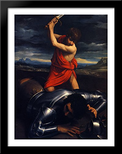 David and Goliath 28x36 Large Black Wood Framed Print Art by Guido -