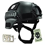 ATAIRSOFT Tactical Airsoft Paintball MICH 2000 Helmet With Side Rail & NVG Mount Black