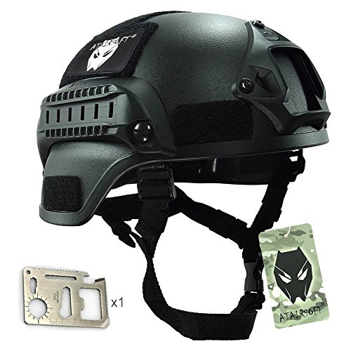 ATAIRSOFT Tactical Airsoft Paintball MICH 2000 Helmet With Side Rail & NVG Mount Black by ATAIRSOFT