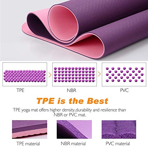 TOPLUS Yoga Mat, 1/4 inch Pro Yoga Mat TPE Eco Friendly Non Slip Fitness Exercise Mat with Carrying Strap-Workout Mat for Yoga, Pilates and Floor Exercises(Purple) by TOPLUS (Image #4)