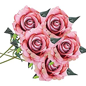 MARJON FlowersRose Artificial Flower Roses Fake 5 Bouquets for Wedding Silk Artificial Flower Bouquet 7