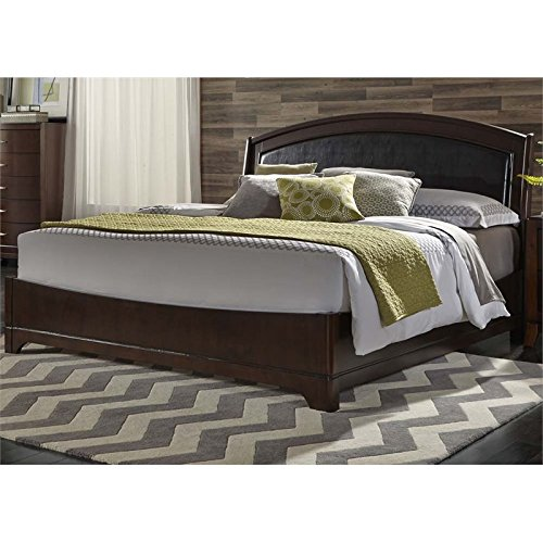 Liberty Furniture Avalon Bedroom Queen Leather Bed, Dark Truffle Finish