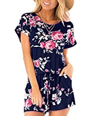Nashion Women's Summer Striped Jumpsuit Casual Loose Short Sleeve Jumpsuit Rompers