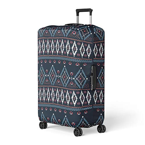 Semtomn Luggage Cover Blue Border Drawing Tribal Ethnic Pattern Designs and Navy Travel Suitcase Cover Protector Baggage Case Fits 18-22 Inch ()