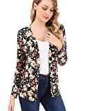 FISOUL Women's Cardigan Button Floral Turn-Down Long Sleeve Blouse Tops M Black