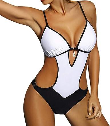 Mujer Monokini Nuevo Promociones Talla Grande Bikinis Halter Traje De Bano De Una Pieza Descuento Amazon Es Ropa Y Accesorios