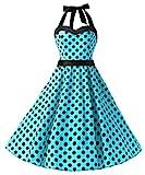 DRESSTELLS 50s Retro Halter Rockabilly Polka Dots Audrey Dress Cocktail Dress Blue Black Dot L