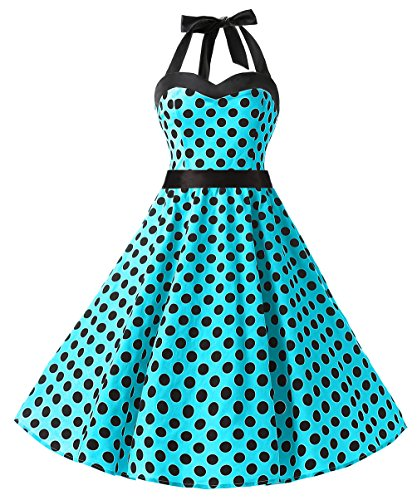 DRESSTELLS 50s Retro Halter Rockabilly Polka Dots Audrey Dress Cocktail Dress Blue Black Dot S