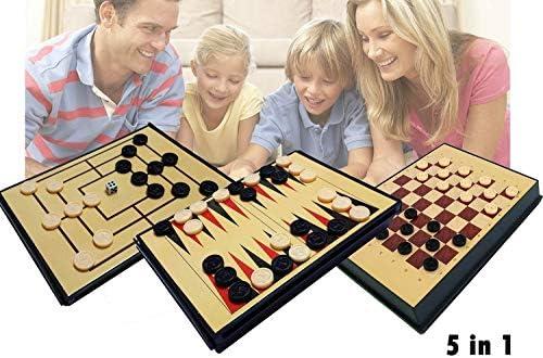 Juego de mesa 5 en 1 (Ajedrez / Damas / Backgammon / 3 en Raya ...