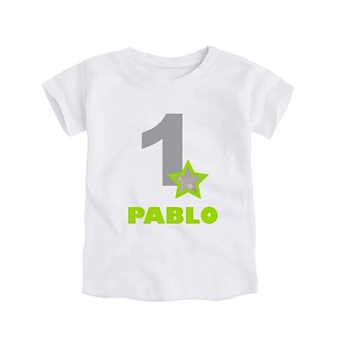 Camiseta o Body Primer Cumpleaños 1 Año/Personalizado con el Nombre/para Bebes Unisex Niños Niñas/Color Gris y Verde