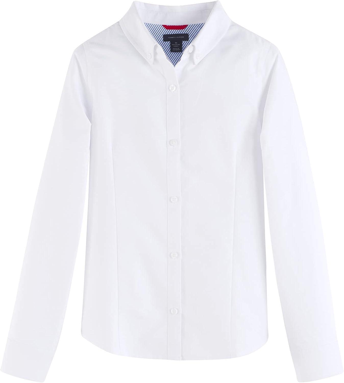 Tommy Hilfiger Long Sleeve Oxford Girls Buttondown Collar Blouse, Kids School Uniform Clothes: Clothing