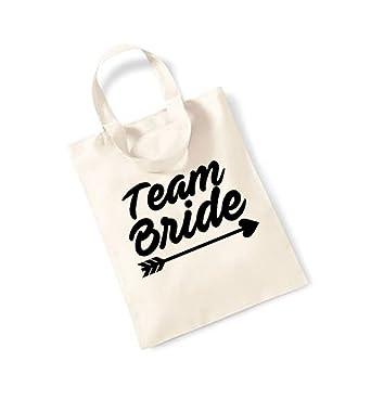 3345117a0bb4 Team Bride - Arrow - Small Canvas Fun Slogan Tote Bag (Natural Black ...