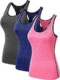 Neleus Women's 3 Pack Dry Fit Athletic Shirts,8007,Blue,Grey,Pink,US M,EU L