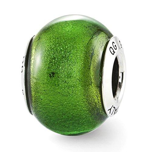 925 Sterling Silver Charm For Bracelet Green Italian Murano Glass Bead Glas Fine Jewelry For Women Gift Set (Pugster Beads Green Murano)