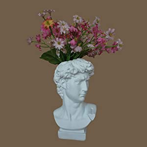 LKXHarleya 6.5 Inch Classic Greek Michelangelo David Resin Sculpture Statue Vase Heads Planter Flower Pot Wine Bottle Holder Home Garden Decor