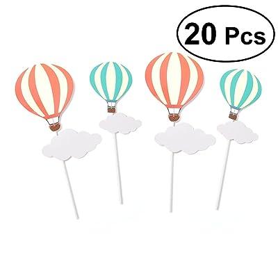 TOYMYTOY 10 Par Lollipop Decoración Torta de Cumpleaños Globo Aerostático Nube Adornos Niños Regalo Kindergarten Decoración Para la Fiesta de Navidad (10 Red Hot Air Balloon + 10 Blue Hot Air Balloon): Juguetes y juegos