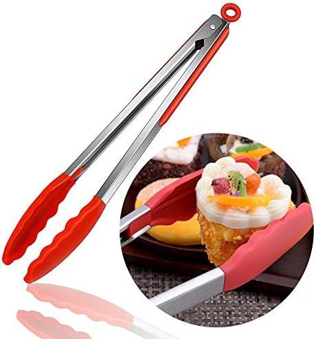 Sukisuki Küchenzange, 35,6 cm, Premium-Silikon, BPA-frei, antihaftbeschichtet, Grill-Zange aus Edelstahl Mehrfarbig