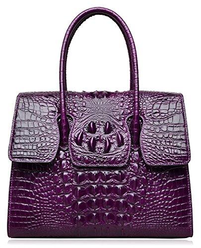 PIJUSHI Top Handle Satchel Handbags Crocodile Women Leather Purse (Big size 27007, violet)
