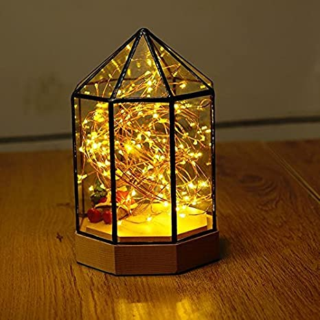 KAI Birthday Gift Nordic Creative Night Light Solid Wood Bedroom Led Bedside Lamp Girlfriend Yurts 22 X 13cm