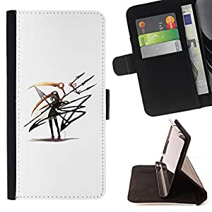 - cool anime art girl warrior blade - - Prima caja de la PU billetera de cuero con ranuras para tarjetas, efectivo desmontable correa para l Funny HouseFOR HTC One M7