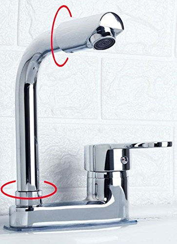 B iJIAHOMIE Style of Bathroom Sink Taps, Bathroom Faucets,Waterfall Basin Sink Mixer Tap Modern Copper, Double Hole, Three Holes, Basin, hot and Cold, Single Handle, Single Hole, D
