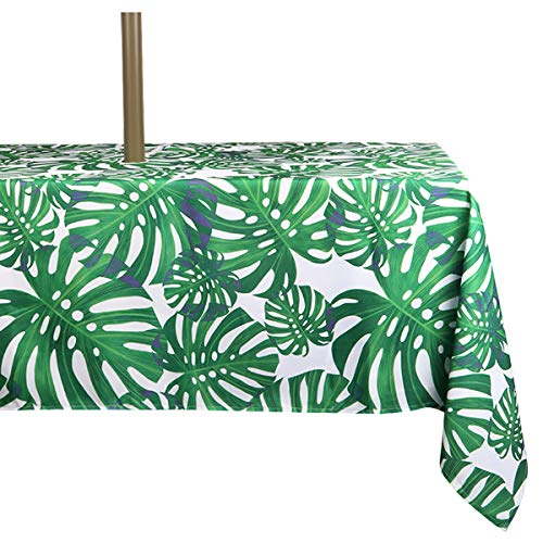 ColorBird Spring & Summer Palm Leaf Outdoor Tablecloth Waterproof Spillproof Polyester Table Cover with Zipper Umbrella Hole for Patio Garden Tabletop Decor, 60 x 84 Inch, Zippered (Patio Table Tablecloth)