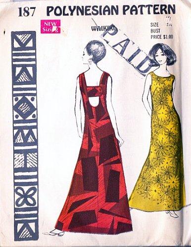 Polynesian Patterns 187 Waikiki Maxi Dress, Muu Muu Vitage 1970s