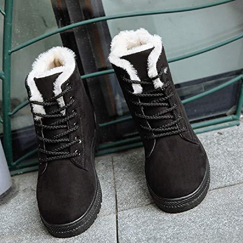 Mujer Casual Botas Zapatos 35 Azul Tacon Rojo de Fur Calientes 2 Negro Cordones Botines Altas Nieve 43 Ancho 2 Invierno Gris Negro 5cm Tobillo Ante Planos dBnxqaT