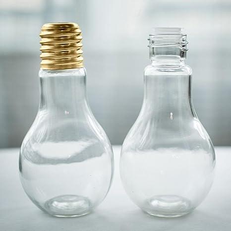 Botella de agua, artistic9 (TM) Retro bombilla estilo Verano bebidas Fashion transparente taza
