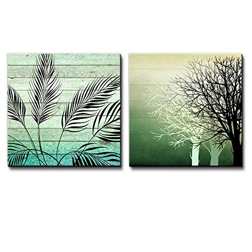 Illustration of Silhouetted of Leaves Over Green Watercolor Gradient Wooden Panels Along with Silhouette of Trees