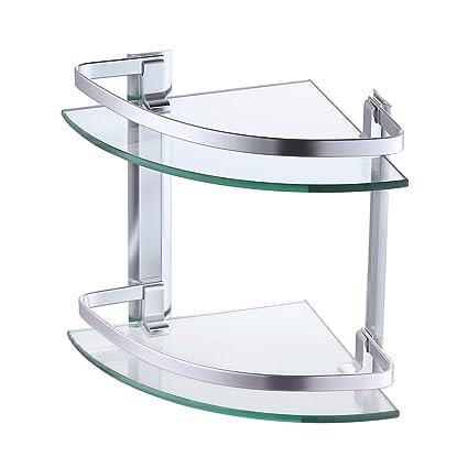 Amazon.com: KES Aluminum Glass Shelf Bathroom Bath Corner Caddy ...