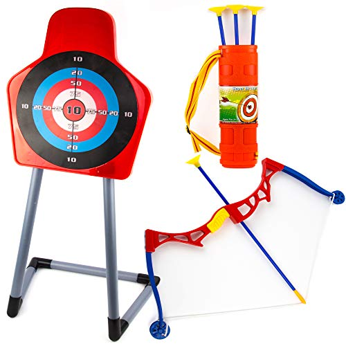 Toysery Kids Archery Bow and Arrow Toy Set - Target with Stand Indoor, Outdoor Garden Fun Game - Best Archery Bow & Arrow Toy Set for Kids Age 3 and Up by Toysery