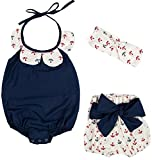 Messy Code Baby Girls Clothes Onesies Faery Rompers Jumpsuits 3 Piece Boutique Outfit Sets, Navy X795#, 18-24 Months