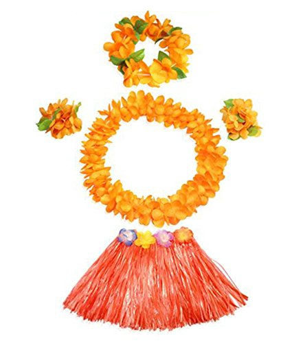 [Hula Children Colorful Hawaiian Island Rainforest Theme Custome] (Hawaiian Hula Outfits)